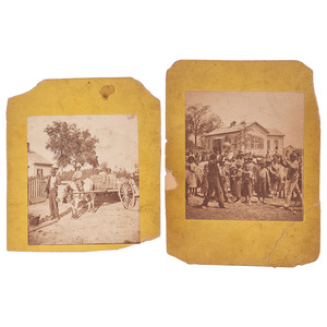 [AFRICAN AMERICANA] -- [EARLY PHOTOGRAPHY]. Two photographs of children in schoolyard and family transportation. N.p., n.d.