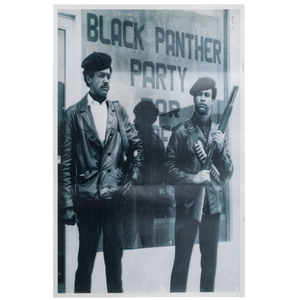 [BLACK PANTHERS]. Black Power, Black Panther Carved Rally Stick, n.p, ca 1965.