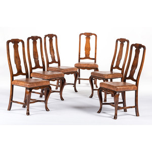 Six Queen Anne-style Side Chairs in Walnut