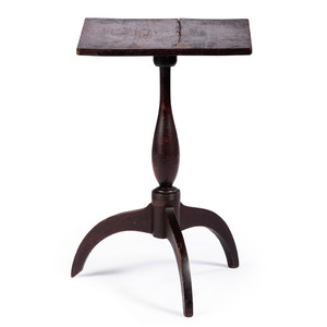 A Federal Stained Maple or Cherrywood Snake-Foot Candlestand, New England