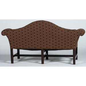 An Irish George III Carved Mahogany Camel-Back Sofa