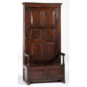 An English Panelled Oak Hall Settle Cupboard