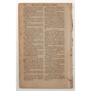[AFRICAN AMERICANA]. The New-York Magazine; Or, Literary Repository: For November, 1791. Vol. II, No. XI (11). New York: Thomas and James Swords, 1791.