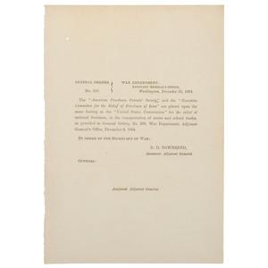 [FREEDMEN'S BUREAU]. General Orders # 300. Washington, DC: War Department, 19 December 1864.