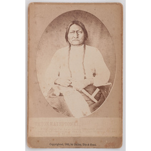 [AMERICAN INDIANS]. BAILEY, DIX, & MEAD, photographers. Sitting Bull cabinet card. Fort Randall, DT: 1882.