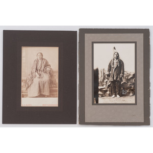 [AMERICAN INDIAN PHOTOGRAPHY]. BARRY, D.F., photographer. Two photographs, incl. Chief Gall. West Superior, WI: [ca early 20th century].