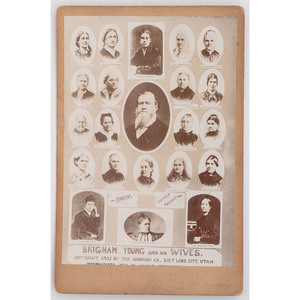 [MORMONS]. Brigham Young and his Wives composite cabinet card. Salt Lake City, UT: The Johnson Co., 1901.