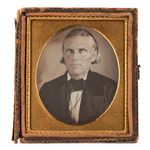 [EARLY PHOTOGRAPHY - TEXAS]. TURNER, Amasa (1800-1877). Previously unknown sixth plate daguerreotype of the Texas pioneer and military hero. N.p.: n.p., n.d.