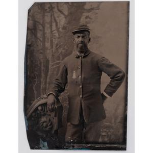 [AFRICAN AMERICANA] -- [CIVIL WAR]. Tintype of African American Civil War veteran wearing GAR badge. N.p., n.d.