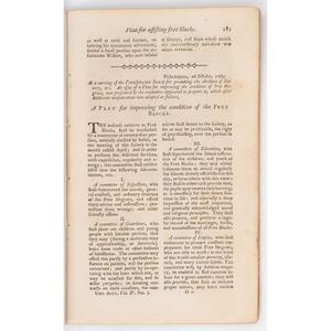 [SLAVERY & ABOLITION] -- [FRANKLIN, Benjamin (1706-1790)]. The Universal Asylum, and Columbian Magazine. Philadelphia: William Young, May 1790.
