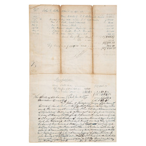 [SLAVERY & ABOLITION]. Estate account document recording sales of enslaved persons, Madison County, AL, 1844.