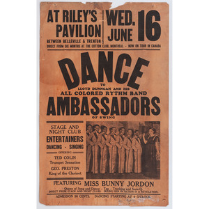[AFRICAN AMERICANA - MUSIC]. A group of posters advertising performances by African American musical and comedy groups, comprising: