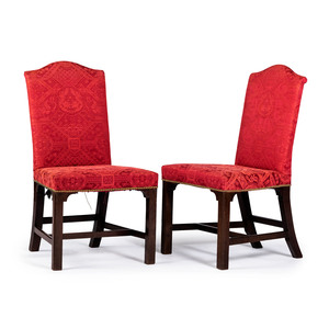 A Pair of George III Silk-Upholstered Mahogany Back Stools, Circa 1800
