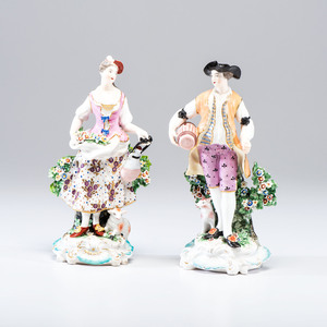 A Pair of Derby Porcelain Figures of a Shepherdess and Companion