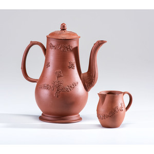 A Staffordshire Redware Coffee Pot and Creamer