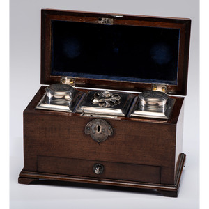 Three Danish Silver Caddies in a Wooden Case