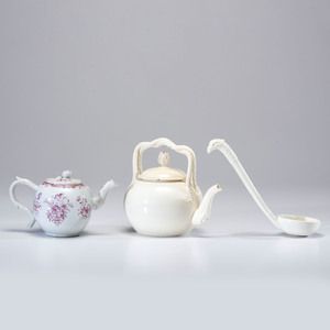 Two Staffordshire Creamware Teapots and Ladle