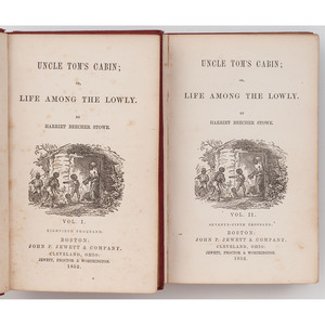 STOWE, Harriet Beecher (1811-1896). Uncle Tom's Cabin; Or, Life Among the Lowly. Boston & Cleveland: John P. Jewett & Company and Jewett, Proctor, & Worthington, 1852.