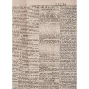 [SLAVERY & ABOLITION]. The Union. Washington, DC: 20 February 1851.
