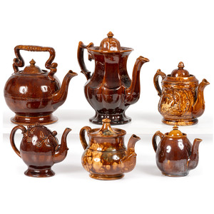 Six Rockingham Glaze Tea and Coffee Pots