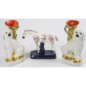 Three Staffordshire Spill Vases and Three Figurines