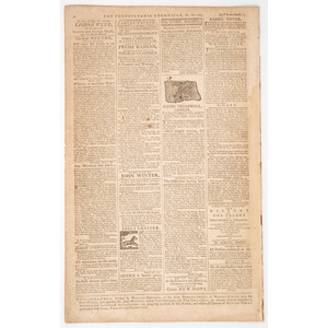 [SLAVERY & ABOLITION]. Pennsylvania Chronicle and Universal Advertiser. Vol. I, No. 12. Philadelphia, PA: William Goddard, 13 April 1767.