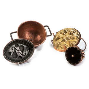 A Copper Candy Kettle and Three Molds