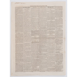 [SLAVERY & ABOLITION] -- [DRED SCOTT DECISION]. Hartford Evening Press. Vol. II, No. 8. Hartford, CT: 7 March 1857.