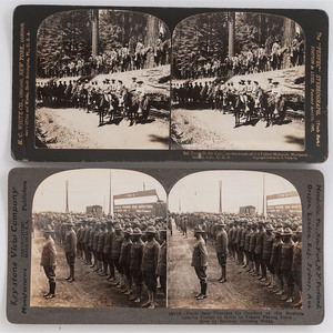 [BUFFALO SOLDIERS]. A pair of stereoviews featuring colored troops, incl. Troop D, 9th Cavalry, comprising: