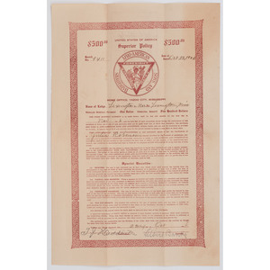 [AFRICAN AMERICANA] -- [FRATERNAL ORGANIZATIONS]. Afro-American Sons and Daughters Insurance Policy Document Issued to Julia Roberson, Yazoo City, MS, 22 October 1926.