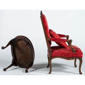 An English Open Armchair and Queen Anne Style Stand