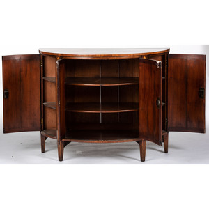 An Adams Style Mahogany Demilune Inlaid Cabinet