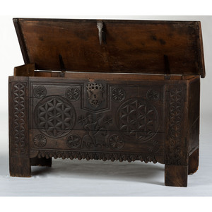 A Spanish Oak Carved Chest, 17th Century