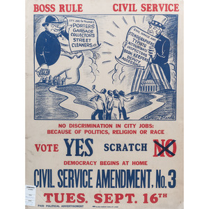 [CIVIL RIGHTS] BANKS, Spencer T. (1912-1983), artist. Boss Rule, Civil Service. St. Louis, MO: Globe Poster Corp., [ca 1941].