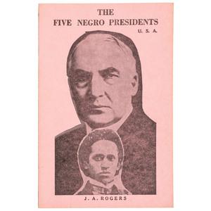 ROGERS, Joel Augustus (1880/3-1966). The Five Negro Presidents. New York: J.A. Rogers, 1965.