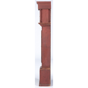 A Federal Red-Painted Pine Tall Case Clock, Garry Lewis, Trumbull County, Ohio, Circa 1820