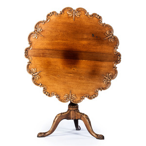 A George III Style Dragon-Fly Carved Mahogany Tilt-Top Tea Table