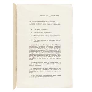DORSEY, Hugh Manson (1871-1948). A Statement from Governor Hugh M. Dorsey as to the Negro in Georgia. [Atlanta, GA?]: n.p., ca 1921.