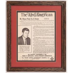 [AFRICAN AMERICANA -- POLITICS -- KENNEDY, John F.]. The Afro-American. Baltimore, MD: [The Afro-American Company], 8 October 1960.