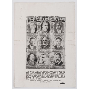 [POLITICS]. Equality For All. Cleveland, OH: Walter L. Brown, 1920.
