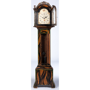 A Federal Grain-Painted Tall Case Clock with Works by Eaton Sanford, Plymouth, Massachusetts, Circa 1775 and Later