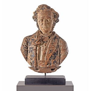 A Finely Carved Pine Sternboard Portrait Bust of Daniel Webster, Sag Harbor, New York, Circa 1850