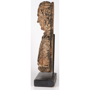 A Finely Carved Pine Sternboard Portrait Bust of Daniel Webster, Sag Harbor, New York, Circa 1850