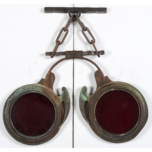 A Copper and Iron Red Glass Inset Optician Trade Sign