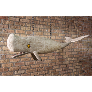A Carved and Painted Wood Whale-Form Hanging Restaurant Sign