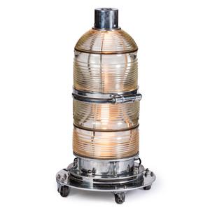 A Monumental Crouse Hinds Chrome and Glass Fresnal Lens Beacon Floor Light