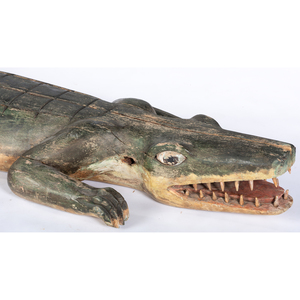 AUCTIONEER'S AMENDMENT* A Carved and Painted Wood Alligator, Likely not American, Late 20th Century