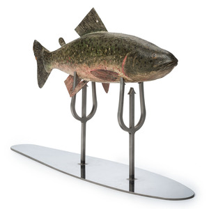 A Pressed Metal Mounted Carved and Painted Wood Trout on Fish Spear Stand