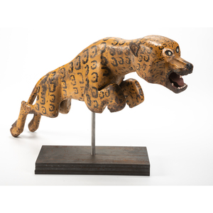 An English Painted Cast-Iron Leaping Leopard Figure