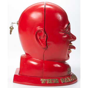 A Painted Cast-Iron Smilin' Sam From Alabam: The Salted Peanut Man Peanut Dispenser